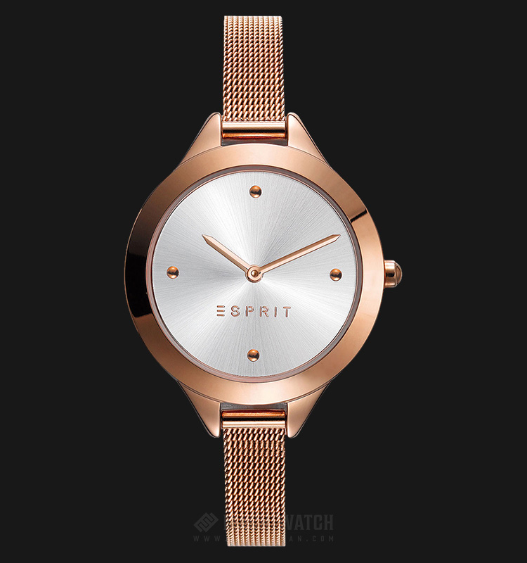 ESPRIT ES109392003 Ladies Silver Dial Rosegold-tone Stainless Steel Watch Machtwatch