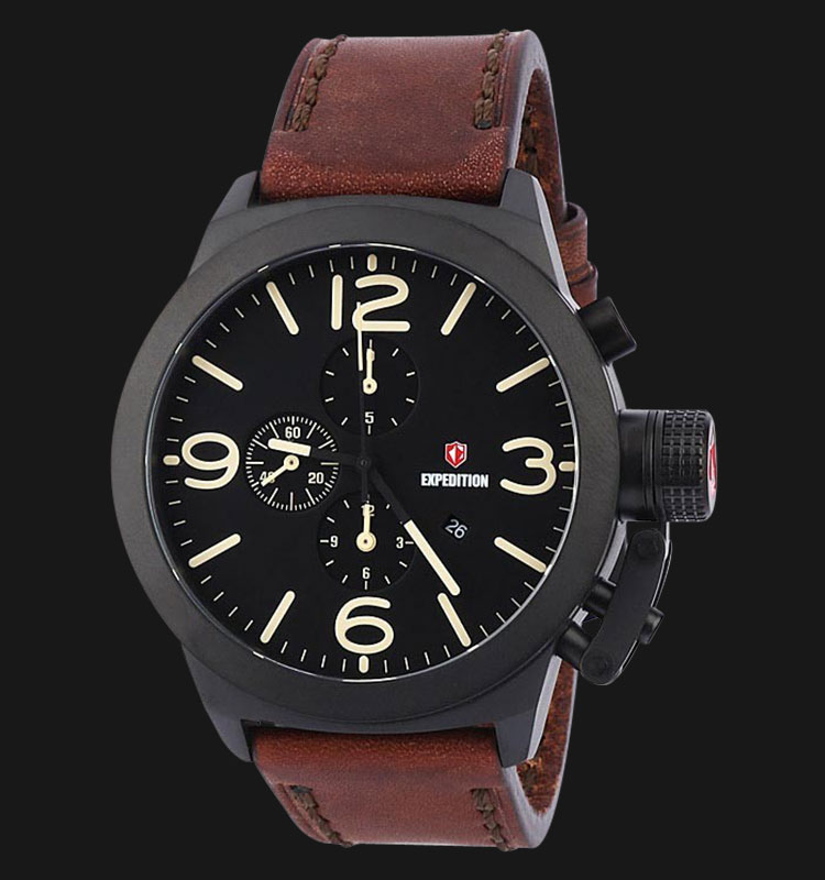 Expedition E6339-MCLIPBASL Man Black Dial Brown Genuine Leather Strap Machtwatch