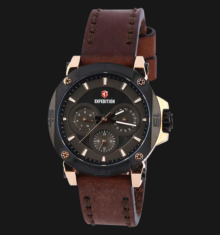 Expedition E6606-BFLBRBA Man Black Dial Black Leather Strap Machtwatch