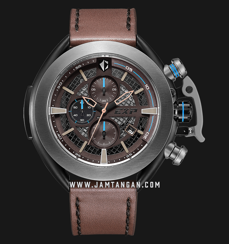 Expedition E 3001 MC LEPBO Chronograph Men Skeleton Dial Brown Leather Strap Machtwatch