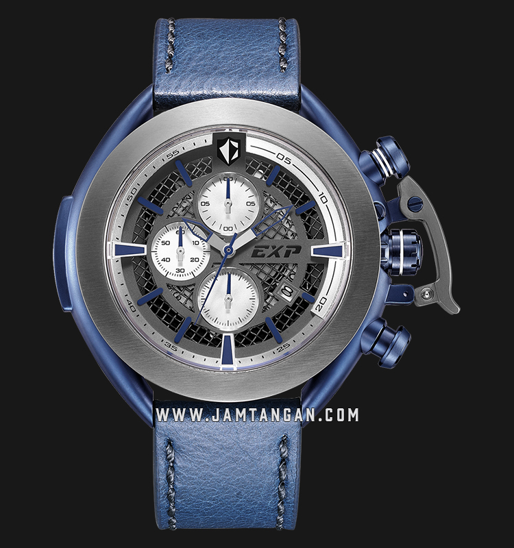 Expedition E 3001 MC LGUSL Chronograph Men Skeleton Dial Blue Leather Strap Machtwatch