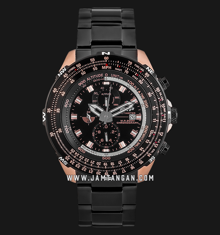 Expedition Altimeter E 3005 MC BBRBA Chronograph Black Dial Black Stainless Steel Strap Machtwatch