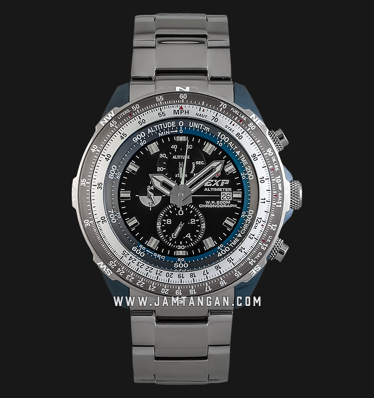 Expedition Altimeter E 3005 MC BUBBA Chronograph Black Dial Stainless Steel Strap Machtwatch