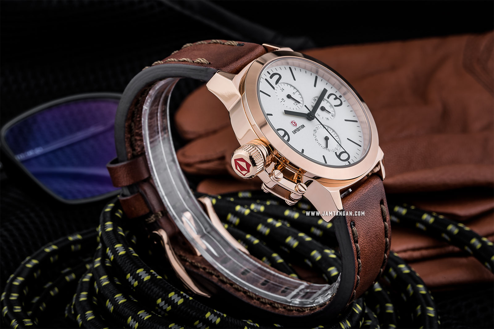Expedition E 6339 BF LRGSL Ladies White Dial Brown Leather Strap Machtwatch