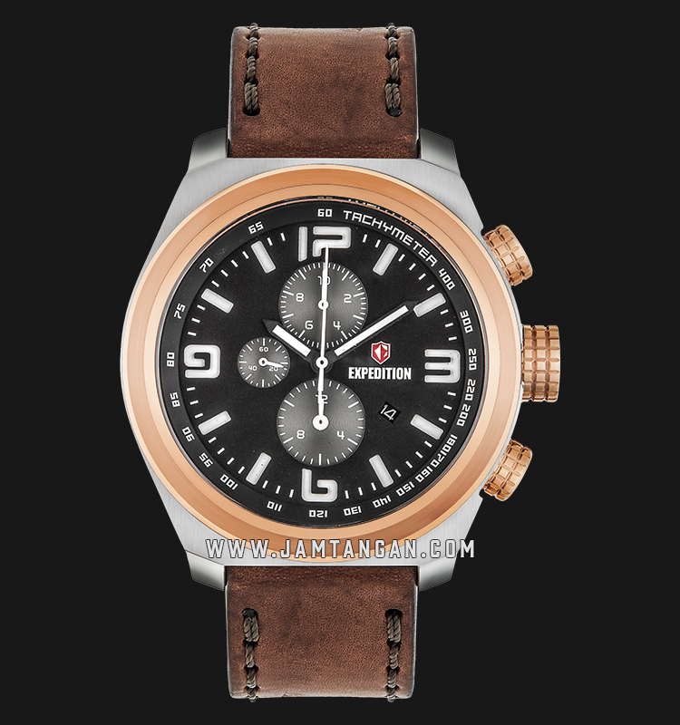 Expedition E 6356 MC LERBA Chronograph Man Black Dial Brown Leather Strap Machtwatch