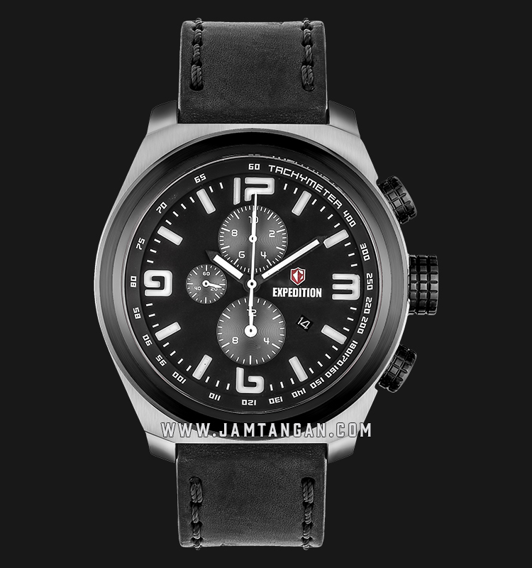 Expedition E 6356 MC LTBBA Chronograph Man Black Dial Black Leather Strap Machtwatch
