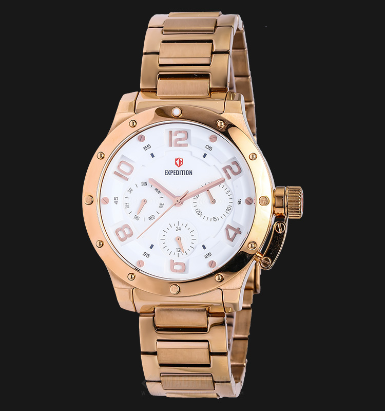 Expedition E 6381 BF BRGSLSL Ladies White Dial Rose Gold Stainless Steel Machtwatch
