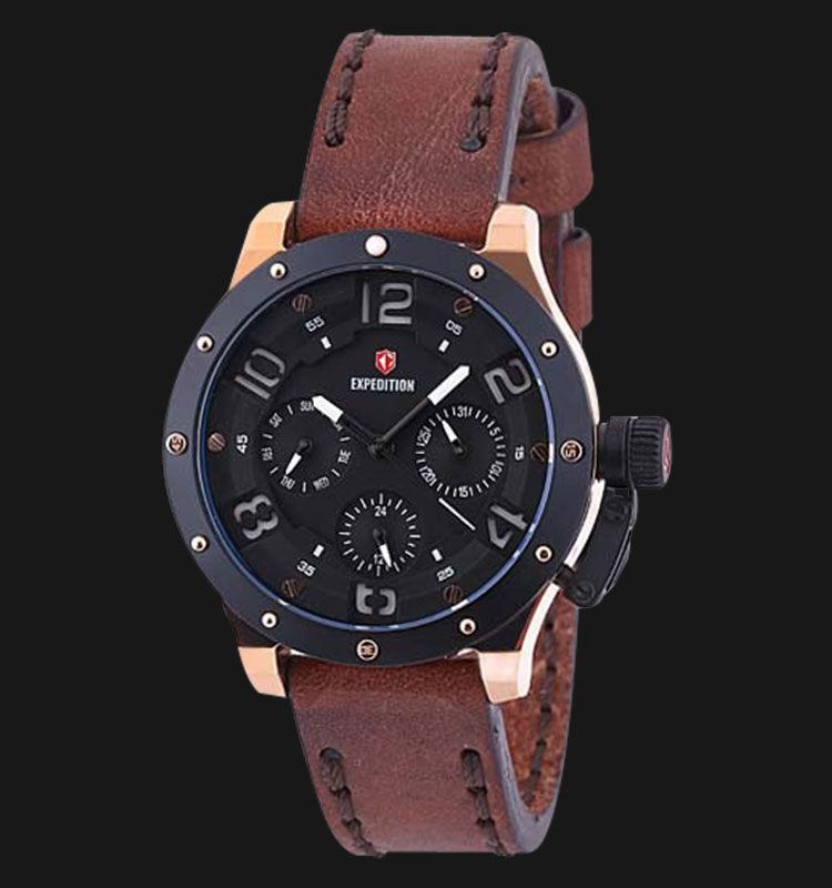 Expedition EXF-6381-BFLBRBA Ladies Black Dial Brown Leather Strap Machtwatch