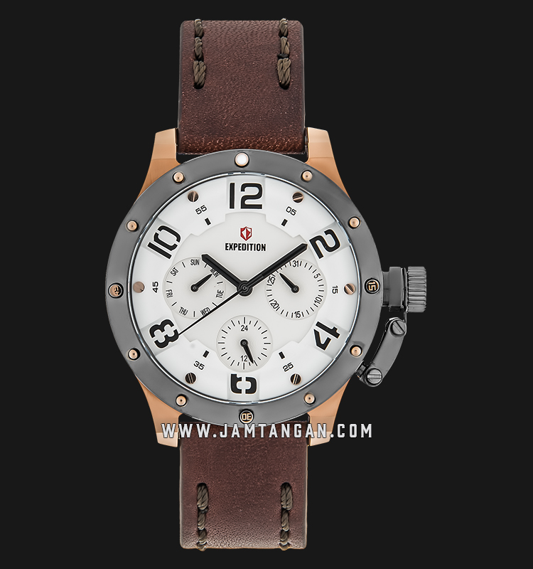 Expedition E 6381 BF LRGSLBA Ladies White Dial Brown Leather Strap Machtwatch