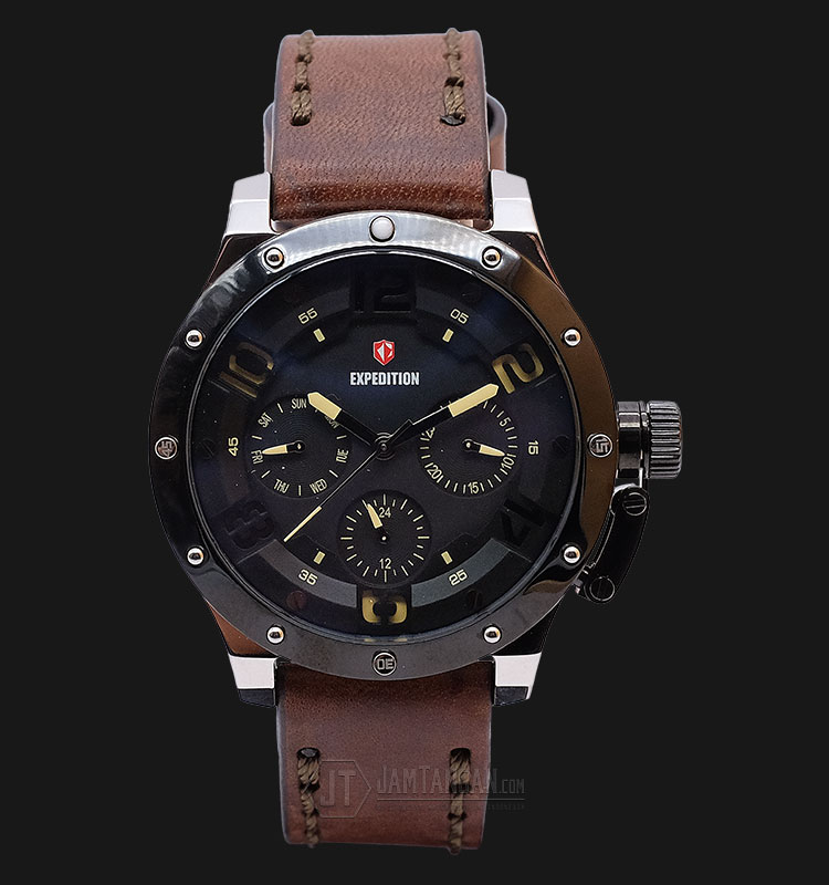 Expedition E 6381 BF LTBBAIVBO Ladies Black Dial Brown Leather Strap Machtwatch