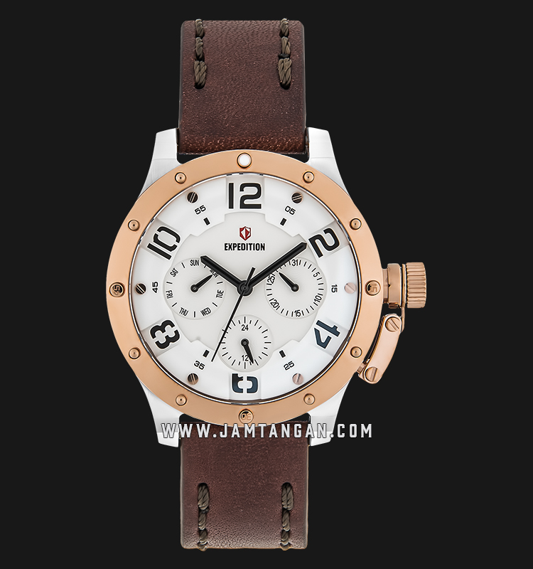 Expedition E 6381 BF LTRSLBA Ladies White Dial Brown Leather Strap Machtwatch