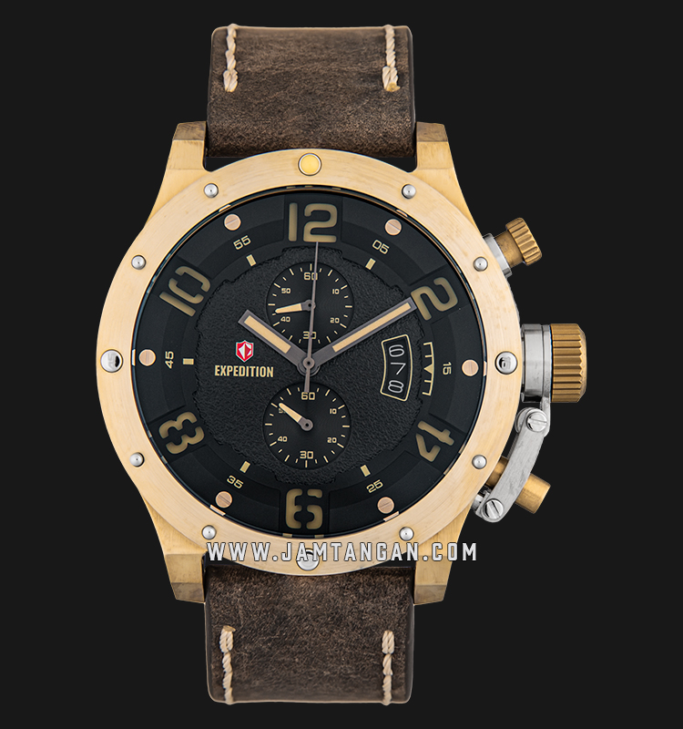 Expedition E 6381 MC LGPBA Chronograph Black Dial Brown Leather Strap Machtwatch