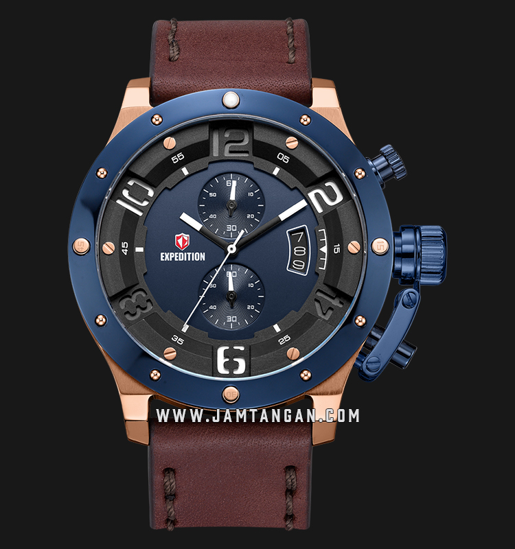 Expedition E 6381 MC LURBU Chronograph Men Blue Dial Brown Leather Strap Machtwatch