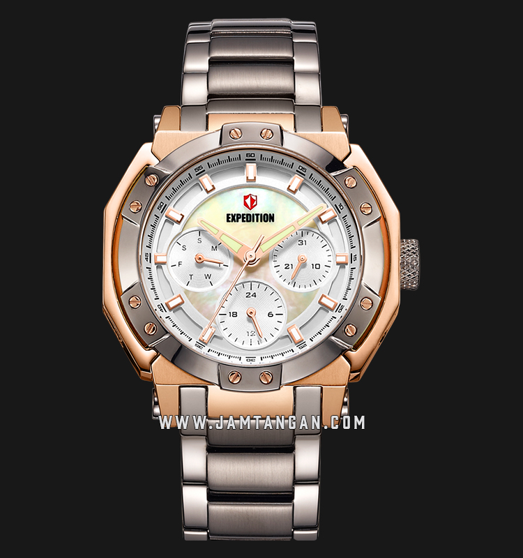 Expedition E 6385 BF BGRSL Ladies Mother of Pearl Dial Grey Stainless Steel Machtwatch