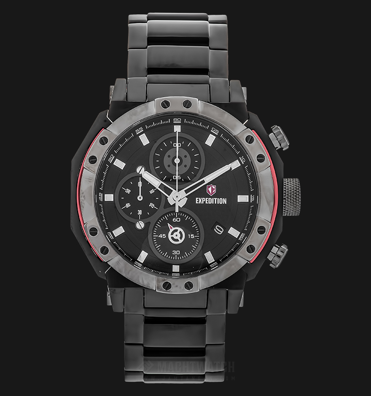 Expedition E 6385 MC BEPBA Chronograph Man Black Dial Stainless Steel Machtwatch