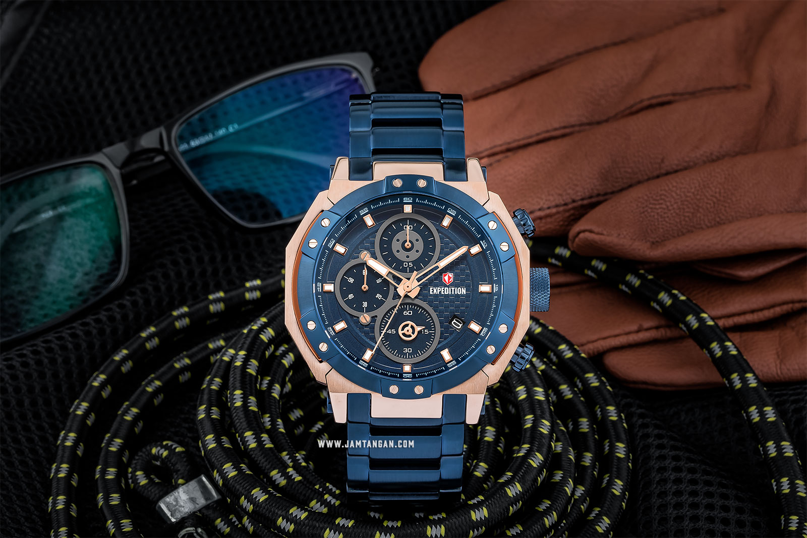 Expedition E 6385 MC BURBU Chronograph Man Blue Dial Blue Stainless Steel Machtwatch