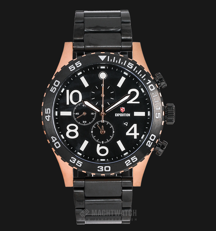 Expedition EXF-6387-MCBBRBA Man Chronograph Black Dial Stainless Steel Machtwatch