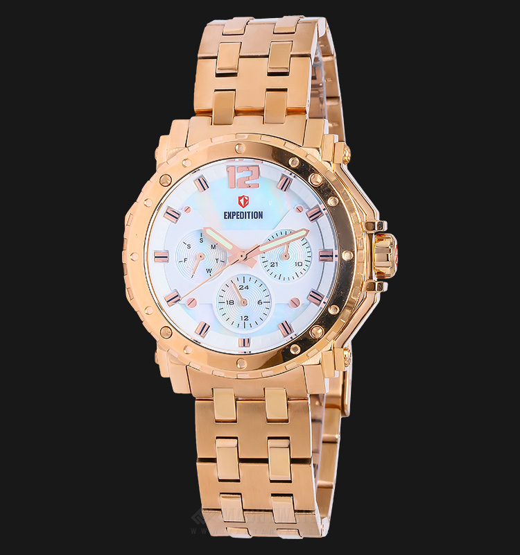Expedition E 6402 BF BRGSL Ladies White Dial Rose Glod Stainless Steel Machtwatch
