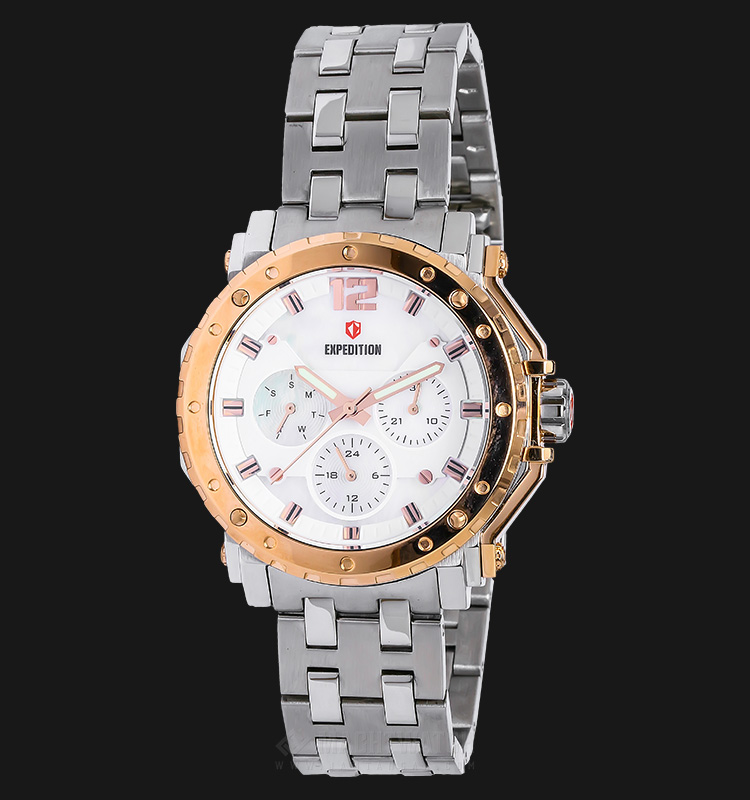 Expedition E 6402 BF BTRSL Ladies White Dial Silver Stainless Steel Machtwatch