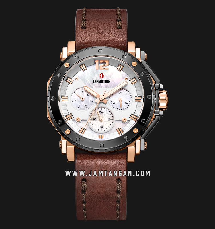 Expedition E 6402 BF LGRSL Ladies Mother of Pearl Dial Brown Leather Strap Machtwatch