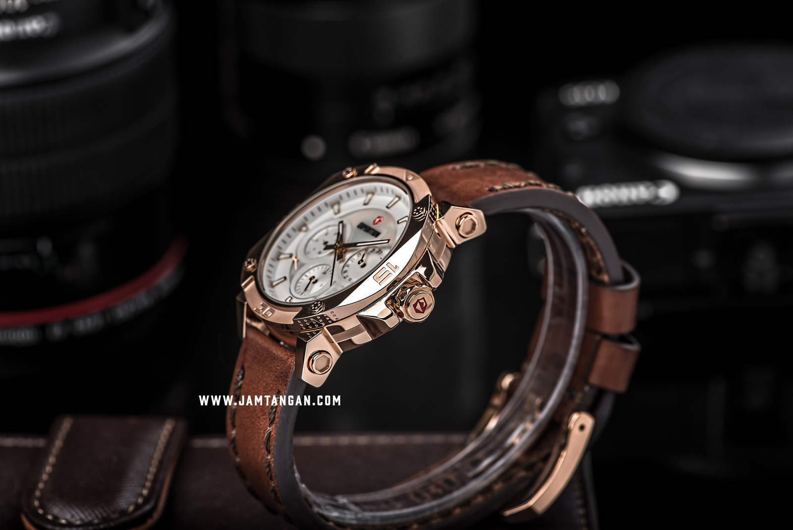 Expedition E 6606 BF LRGSL Ladies Mother of Pearl Dial Brown Leather Strap Machtwatch