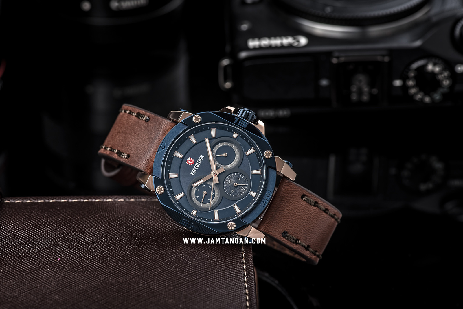 Expedition E 6606 BF LURBU Ladies Blue Dial Brown Leather Strap Machtwatch