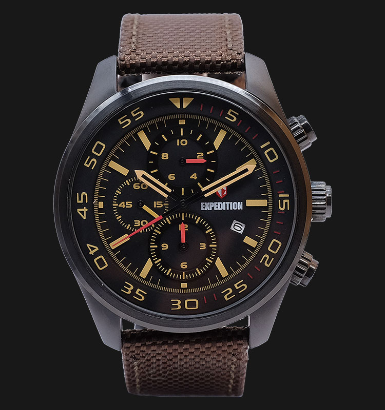 Expedition EXF-6677-MCNIPBABO Man Black Dial Brown Canvas Strap Machtwatch