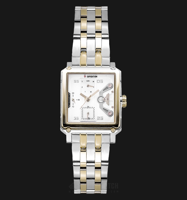 Expedition E 6695 BF BTGSL Ladies Beige Dial Dual Tone Stainless Steel Strap Machtwatch