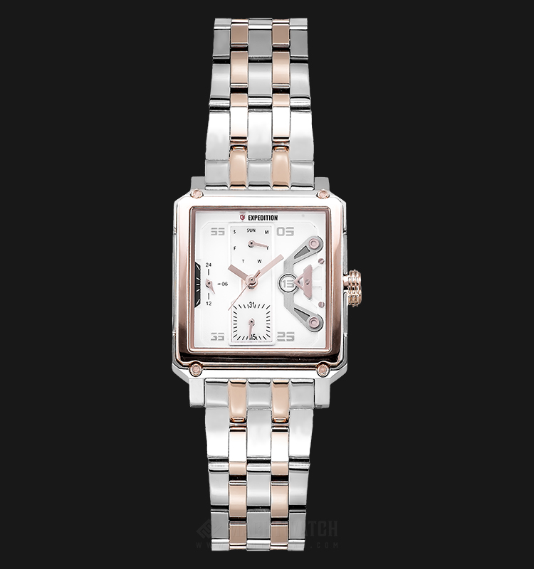 Expedition E 6695 BF BTRSL Ladies Beige Dial Dual Tone Stainless Steel Strap Machtwatch