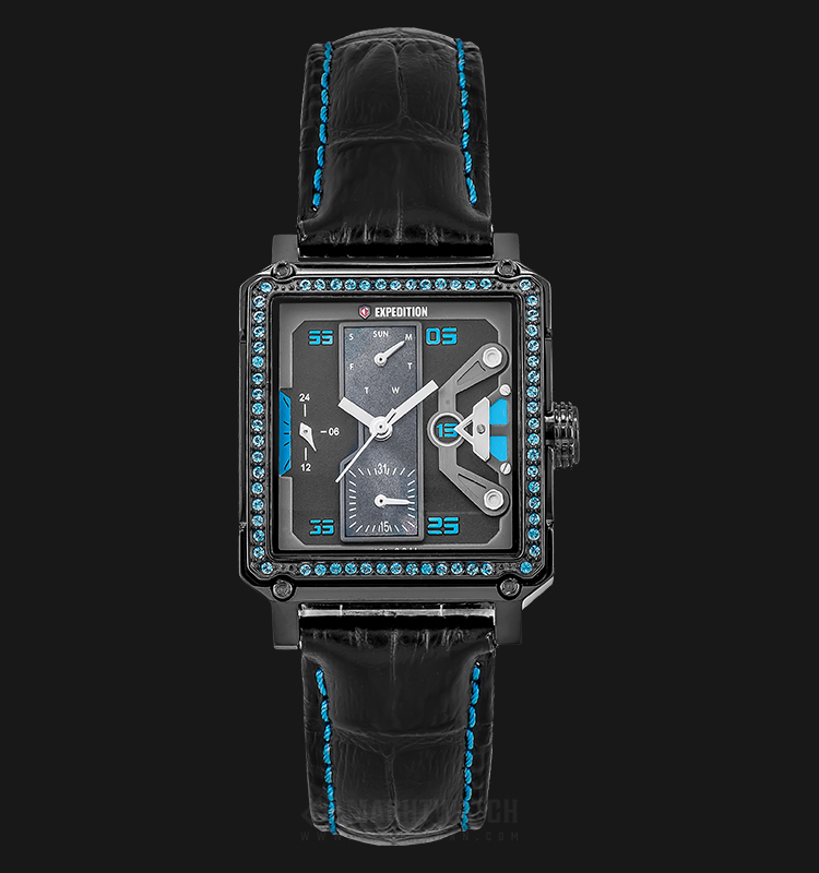 Expedition E 6695 BF LIPBABU Ladies Black Dial Black Leather Strap Machtwatch