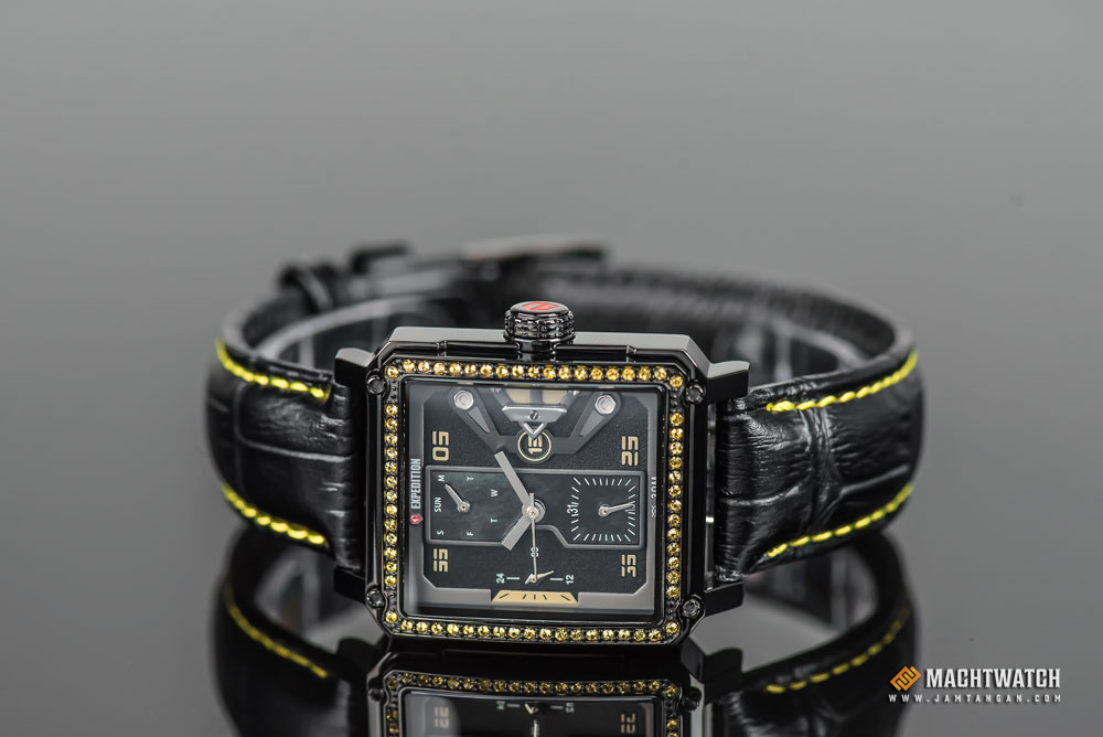 Expedition E 6695 BF LIPBAYL Ladies Black Dial Black Leather Strap Machtwatch
