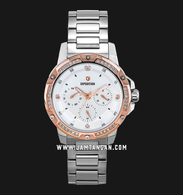 Expedition E 6698 BF BTRSL Ladies White Dial Stainless Steel Machtwatch