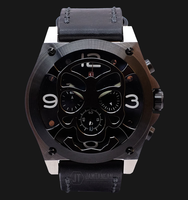 Expedition EXF-6699-MCLTBBA Man Black Dial Black Leather Extra Skull Bracelet Machtwatch