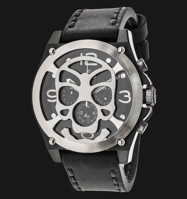 Expedition EXF-6699-MCLTBBASL Chronograph Man Black Dial Black Leather Strap Machtwatch