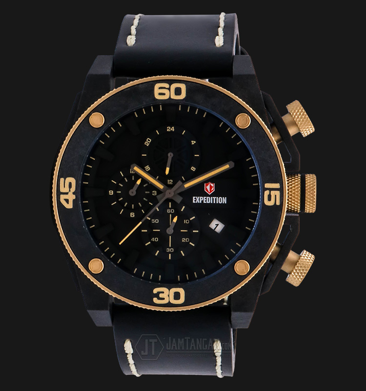 Expedition EXF-6710-MCLGPBA Man Black Dial Black Leather Strap Machtwatch