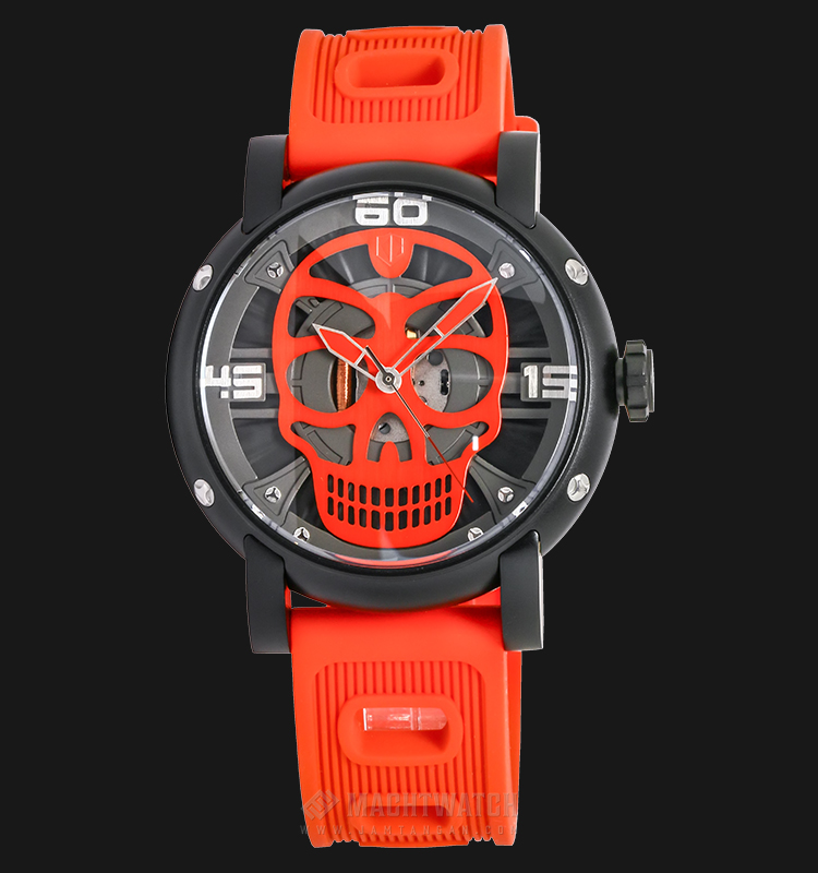Expedition EXF-6722-MHRIPBARE Man Skeleton Dial Red Rubber Strap Machtwatch