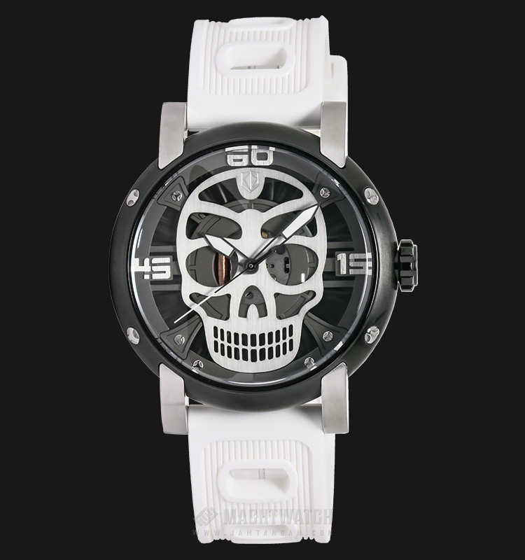 Expedition EXF-6722-MHRTBBAGY Man Skeleton Dial White Rubber Strap Machtwatch