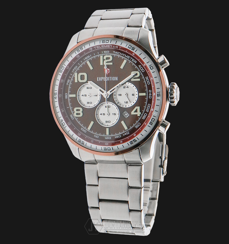 Expedition EXF-6728-MCBTNBORE Man Chronograph Brown Dial Stainless Steel Machtwatch