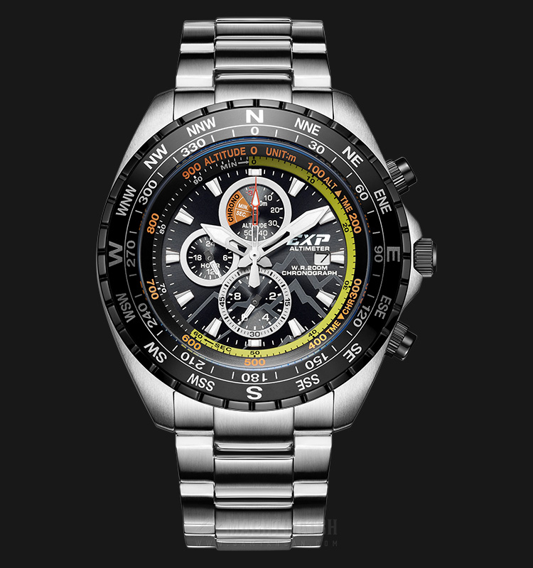 Expedition Altimeter E 6739 MC BEPBA Man Chronograph Black Dial Stainless Steel Machtwatch