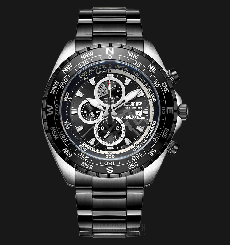Expedition Altimeter E 6739 MC BTBBA Man Chronograph Black Dial Stainless Steel Machtwatch