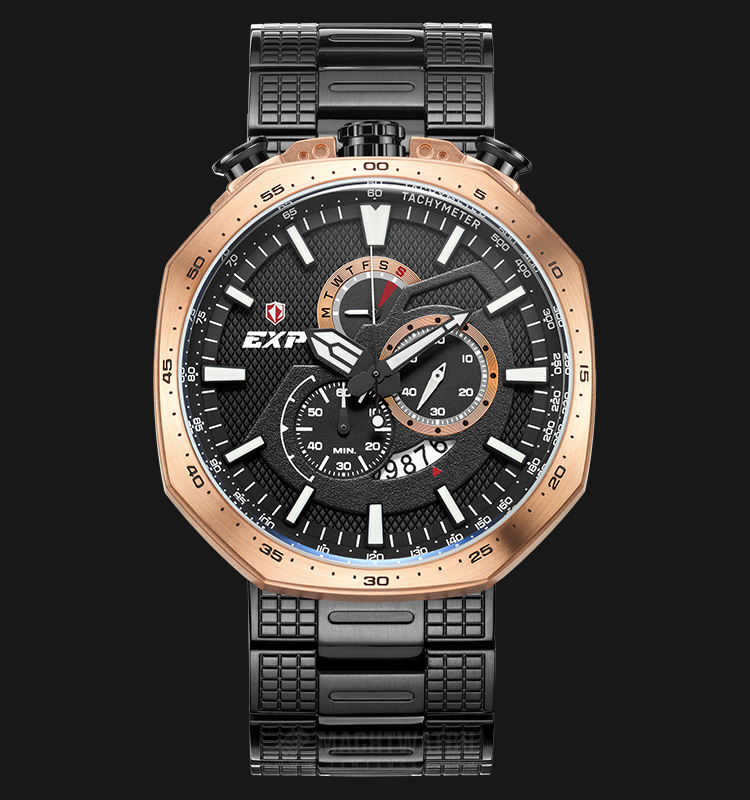 Expedition E 6745 MC BBRBA Man Chronograph Black Pattern Dial Stainless Steel Machtwatch