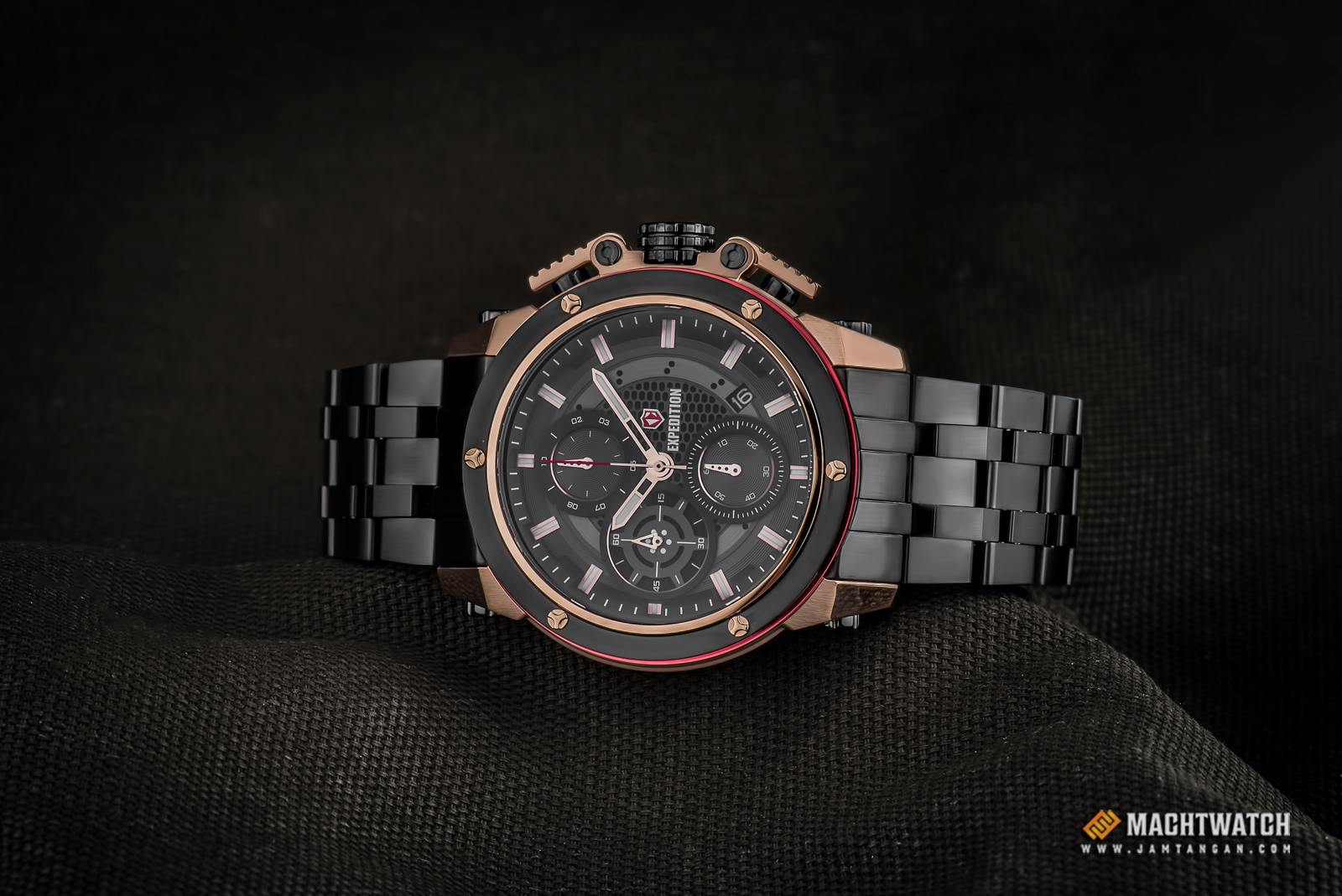 Expedition E 6748 MC BBRBA Man Chronograph Black Dial Black Stainless Steel Strap Machtwatch