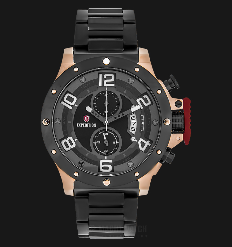 Expedition E 6750 MC BBRBA Chronograph Men Black Dial Black Stainless Steel Strap Machtwatch