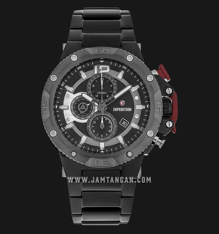 Expedition E 6751 MC BEPBA Chronograph Men Black Dial Black Stainless Steel Machtwatch