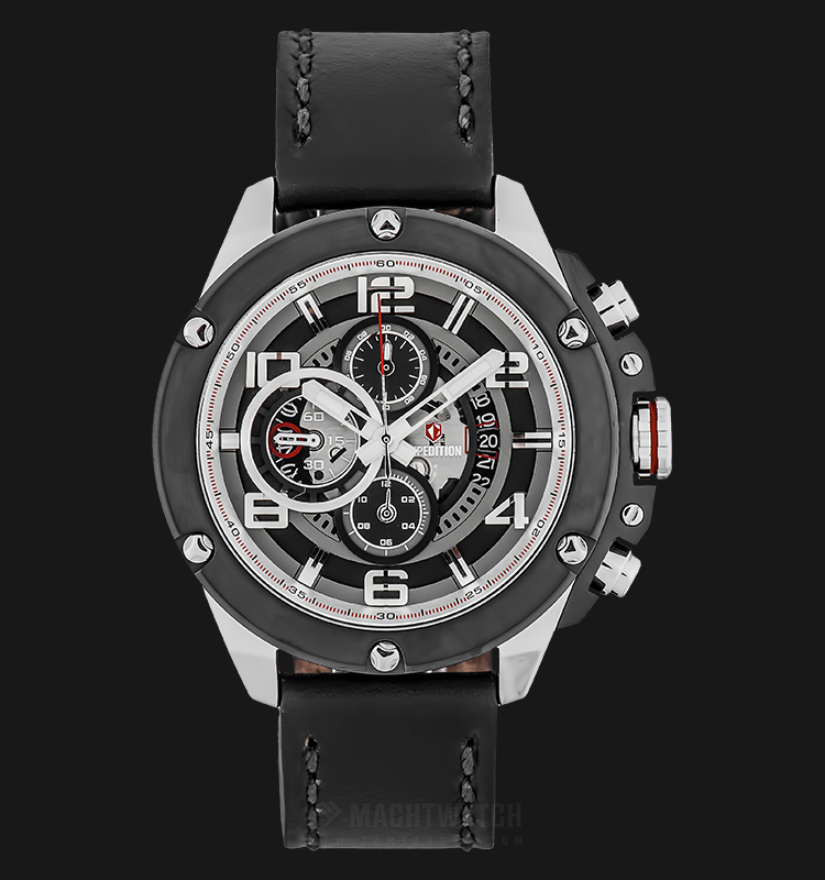 Expedition E 6752 MC LTBBA Man Chronograph Black Dial Black Leather Strap Machtwatch