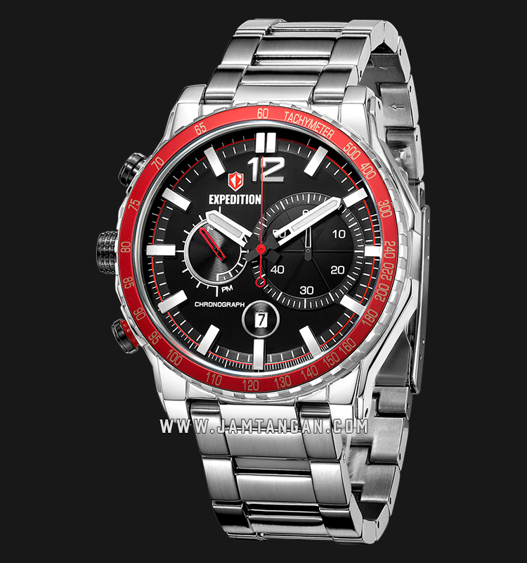 Expedition E 6753 MC BSSBARE Chronograph Man Black Dial Stainless Steel Machtwatch