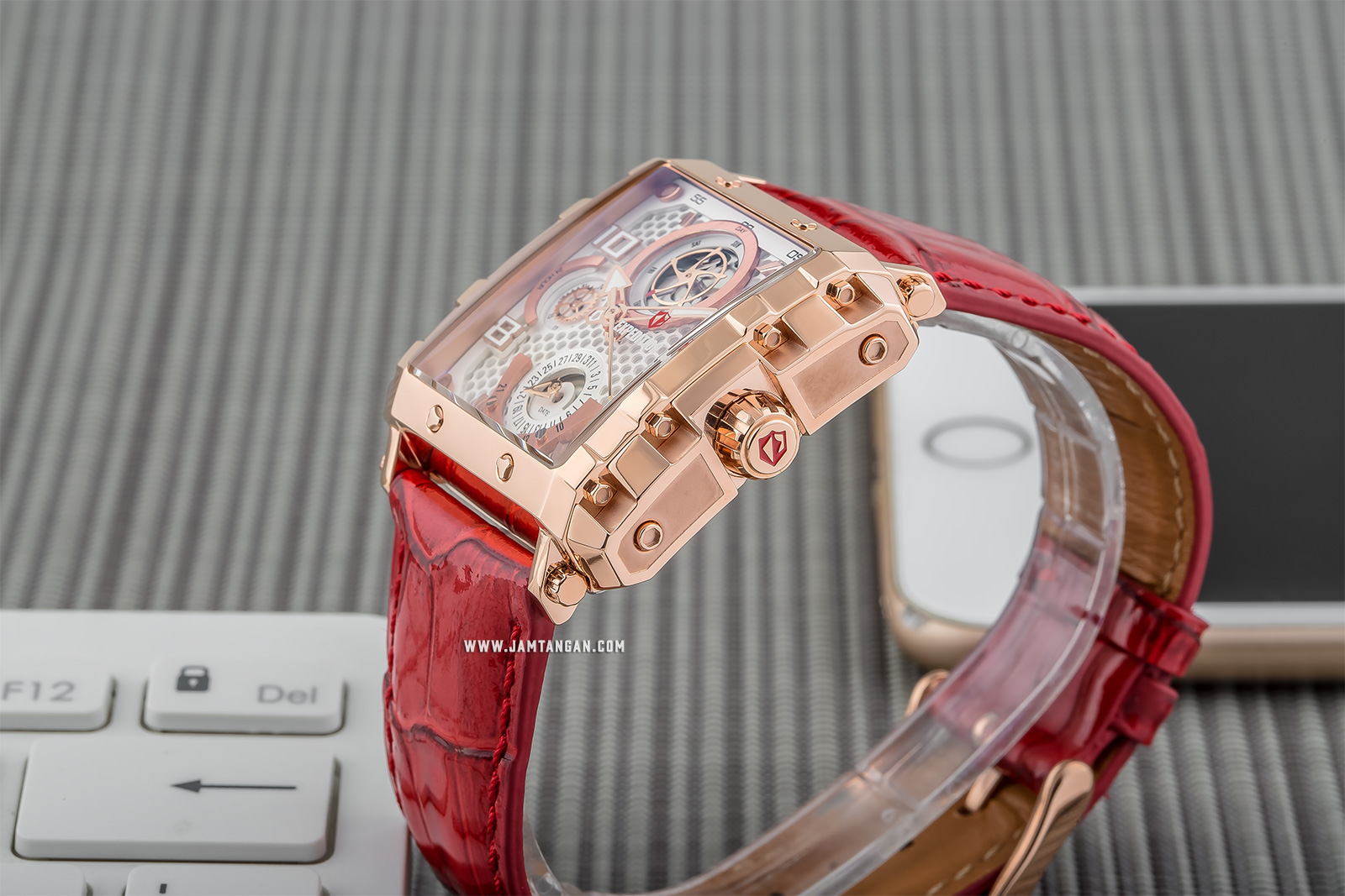 Expedition E 6757 BF LRGSL Ladies White Dial Red Leather Strap Machtwatch