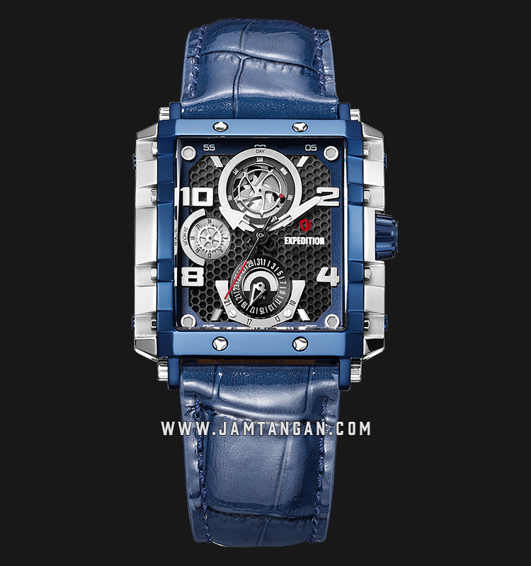 Expedition E 6757 BF LTUBU Ladies Black Dial Blue Leather Strap Machtwatch