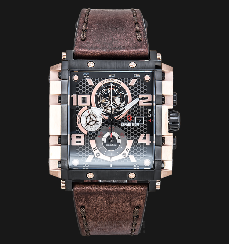 Expedition E 6757 MC LBRBA Chronograph Men Black Dial Brown Leather Strap Machtwatch