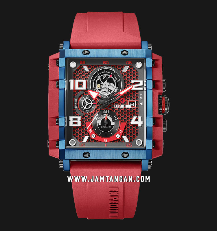 Expedition E 6757 MC RUBRE Men Chronograph Red Dial Red Rubber Strap Machtwatch